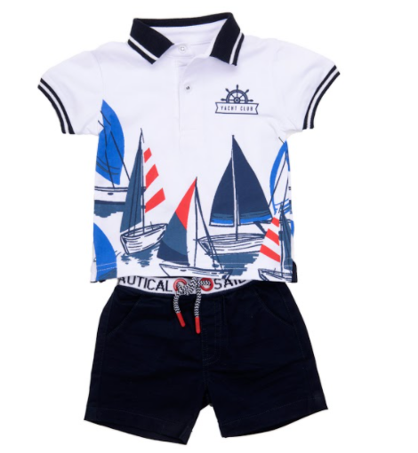 Babybol nautical yacht club short set