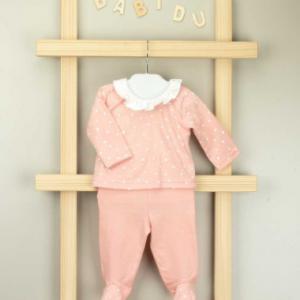 Babidu two piece dotty trouser set for baby girl peach