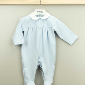 Babidu sky blue all in one babygrow, presented in a gift box