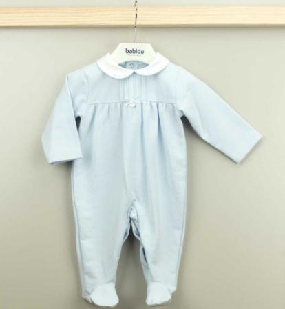 Babidu sky blue all in one babygrow, presented in a gift box