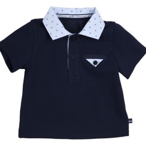 Gymp navy polo shirt with light blue printed collar