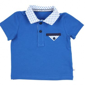 Gymp polo shirt blue with white and blue pattern collar