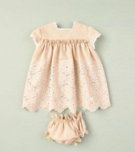 Cocote linen dress and bloomers beige