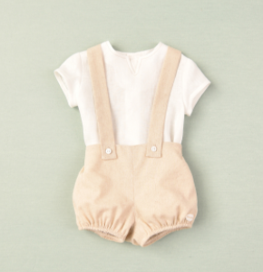 Cocote linen short dungaree and linen shirt