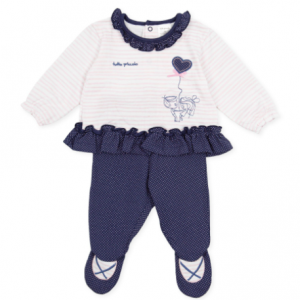 Tutto piccolo 2pce girls navy and pink trouser set