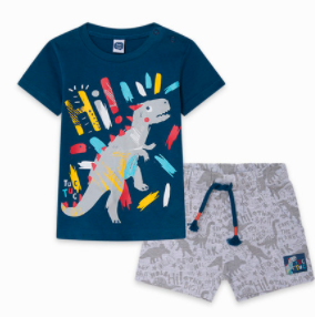 Tuc tuc BLUE DINOSAUR JERSEY T-SHIRT AND BERMUDAS SET FOR BOYS DRAW A REX