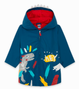 BLUE WITH HOOD AND CREST RAINCOAT FOR BOYS DRAW A REX