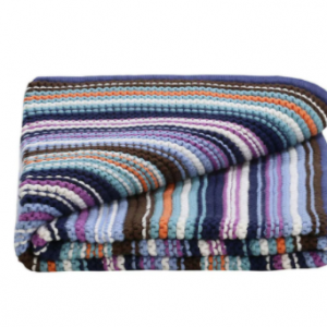 LILLY AND SID BLUE KNITTED BLANKET ORGANIC COTTON