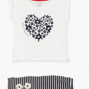Losan heart t-shirt & Striped legging set