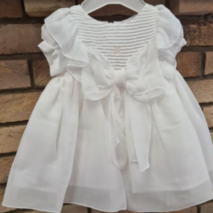 patachou white chiffon dress with bow, christening