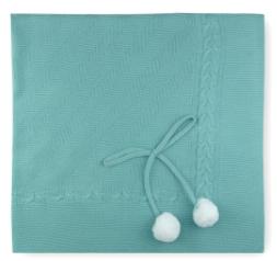 Sardon knitted blanket for new baby - green