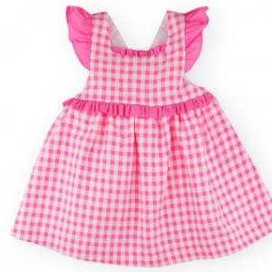 Sardon pink gingham dress with criss cross straps