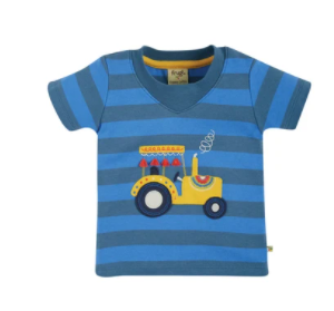 Frugi gots organic cotton easy on t-shirt blue stripes tractor