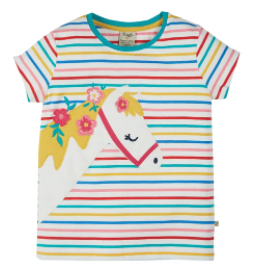 frugi gots organic cotton soft multistripe camille applique t-shirt horse