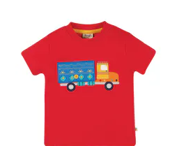 Frugi gots organic cotton playdate tee true red truck