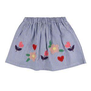 Lilly and sid organic cotton applique hem skirt - blue stripe