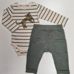 Minymo 2pce jogger set - khaki. long sleeve organic cotton bodysuit