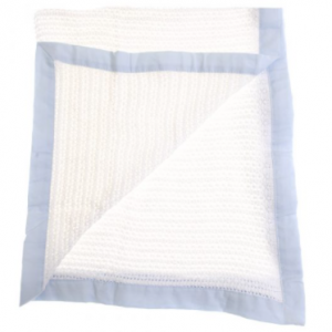 ziggle cellular blanket with blue trim