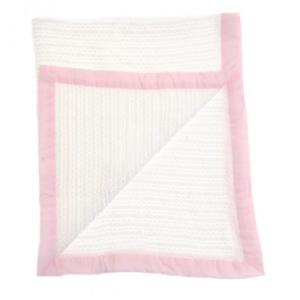 Ziggle cellular blanket with pink trim