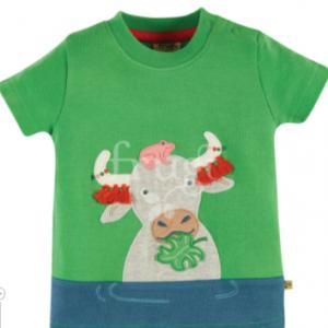 Frugi penryn panel t-shirt green buffalo