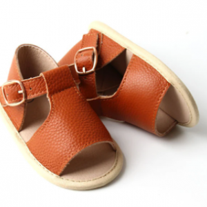 Dainty bear unisex tan leather peep toe sandals