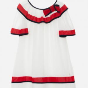PATACHOU WHITE CHIFFON DRESS WITH RED AND NAVY