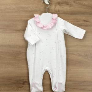 Babidu babygrow for girl, pink collar. presented in a gift box