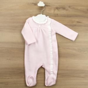 Babidu pink all in one babygrow with white ruffle collar