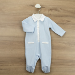 Babidu all in one blue babygrow with white collar