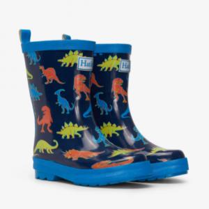 Hatley linework dinos shiny rain boots