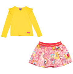Girls skirt by Rosalita Senoritas, made in silky polyester. It has a full skater skirt silhouette with a fun pink paisley print with quirky animals in frames. It has a coral elasticated waistband with a sparkling gold band. Matched with a funky yellow t-shirt.