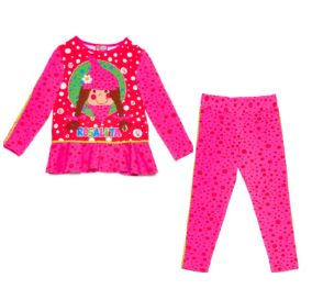 Fuchsia pink tunic top and leggings for girls, by Rosalita Senoritas. Made from soft cotton jersey, it has a colourful red and pink dotted design, with a cute girl printed on the front of the top and matching print leggings.