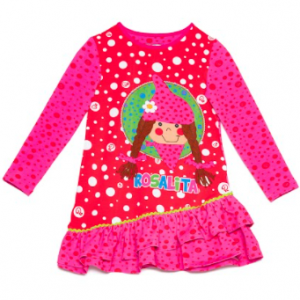 Fuchsia pink dress for girls, by Rosalita Senoritas. Made from soft cotton jersey, it has a colourful red and pink dotted design, with a cute girl printed on the front.