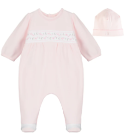 Emile et rose baby pink all in one with feet and floral embroidery and hat