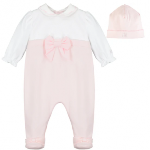 A beautiful pink and white baby girls' babygrow with a simple white rounded collar is perfect for new baby. The top of the babygrow is white and the lower part pink. A pretty bow sits at the waist and feet add a lovely touch. A matching pull on hat completes this cute little outfit.
