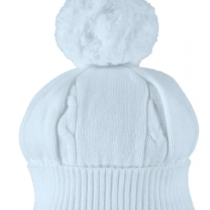 """A true favourite and a """"must have"""" for chilly winter days - this pale blue baby bobble hat has a turn-back rib and cable knit feature. This cute baby hat is a perfect match for many pieces from the Emile et Rose Autumn Winter collection."""