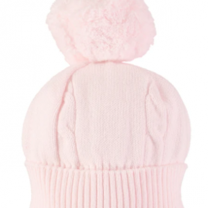"""A true favourite and a """"must have"""" for chilly winter days - this pale pink baby bobble hat has a turn-back rib and cable knit feature. This baby girl winter hat perfectly complements many pieces from the Autumn Winter Emile et Rose collection"""