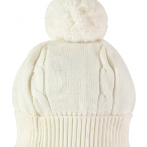 """A true favourite and a """"must have"""" for chilly winter days - this baby bobble hat has a turn-back rib and cable knit feature. The hat is a perfect match for all ivory Emile et Rose garments."""