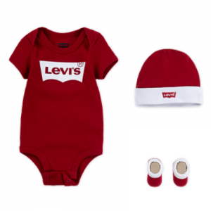 Levi's 3pce batwing onesie, booties and hat