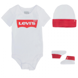 Levi's three piece set onesie with matching hat and booties