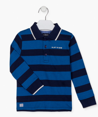 Losan Raised print chest polo for boy. Striped single jersey polo with long sleeves. Ribbed cuffs and collar. Front opening with custom branded buttons made of plastic. Side vents.