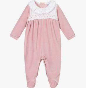Babidu velour babygrow - pink, presented in a gift box