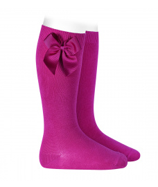 Condor pink knee high socks with side bow