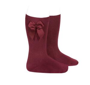 Condor garnet knee high socks with side bow