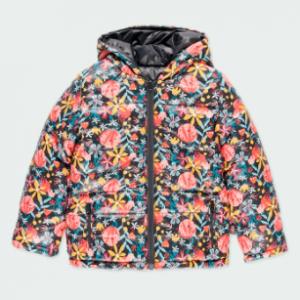 Boboli reversible floral jacket with hood