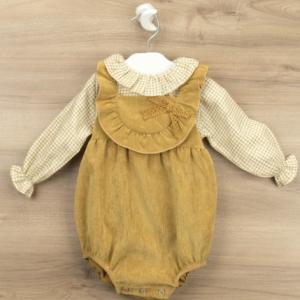 Babidu mustard romper and ruffled collar blouse