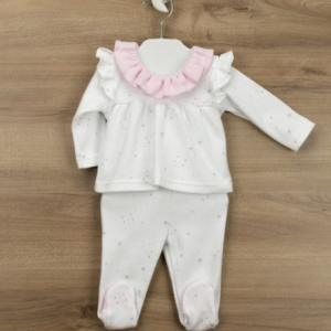 Babidu 2 pce trouser set for new baby girl, presented in a gift box