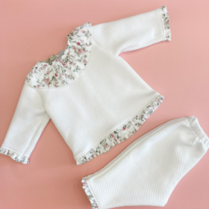 Dainty bear frilly collar two piece tracksuit