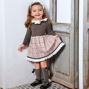 Juliana dress, a spanish brand with knitted body and check print skirt, cute frill collar