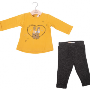Babybol mustard legging set, long sleeve cute top and ribbed leggings, warm and cosy for autumn winter